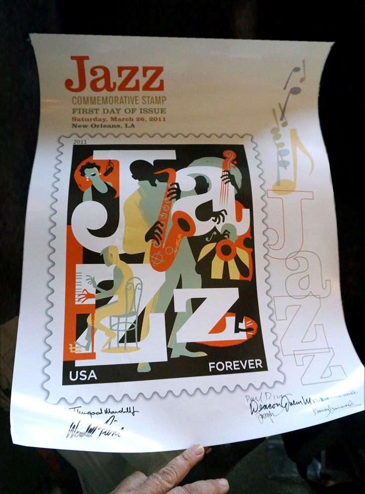 Poster from the Jazz stamp First Day of Issue ceremony